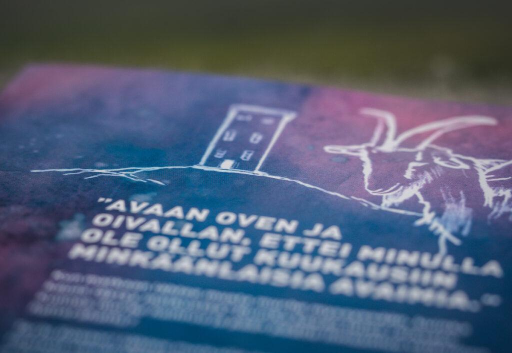 Majakka ja vuohi kirjan takakannessa Kuva: Terhi Ilosaari